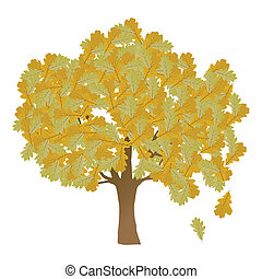 Autumn oak tree leaves vector background