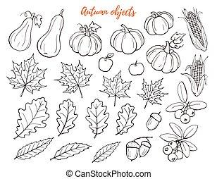 autumn objects set