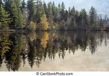 Autumn on a lake in Bavaria, Germany, with texture