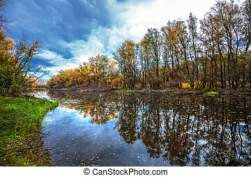 Autumn on river. Western Siberia - Autumn landscape with ...