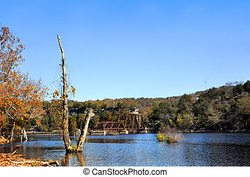 Autumn on Table Rock Lake with Railroad Bridge - Autumn time...
