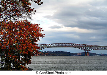 View of the Hudson River in upper New York state in Autumn (Newburgh-Beacon Bridge in background)