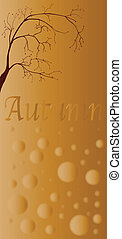 A depiction of Autumn with brown and floating abstract balls