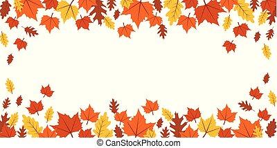 autumn orange and yellow falling leaves on white background