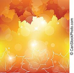Autumn orange background with maple leaves - Illustration...