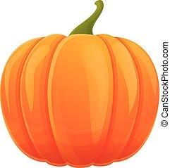 Autumn orange pumpkin icon, cartoon style