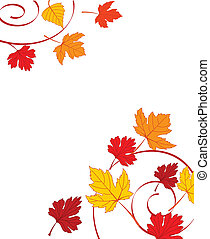 Autumn ornament with maple leaves