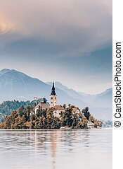 Autumn over lake Bled in Slovenia