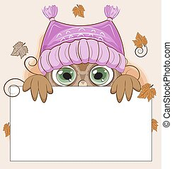 Autumn owl in hat frame