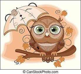 Autumn owl with umbrella