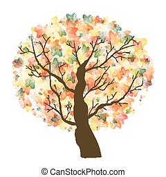 Autumn Paint Textured Art Tree. Vector Illustration