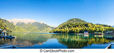 Autumn panorama of the lake Ritsa, Abkhazia.
