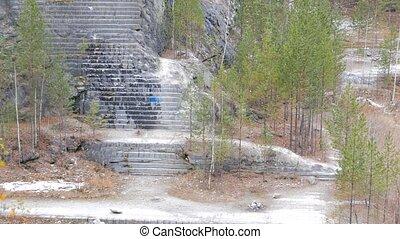 Autumn panorama quarry. Russia