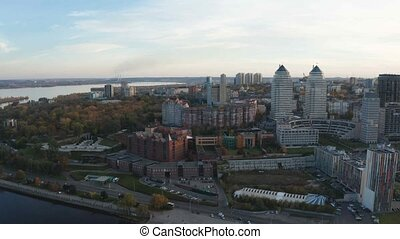 Autumn panoramic aerial view from drone on Dnipro city on...