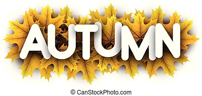 Autumn paper letters sign with yellow maple leaves.