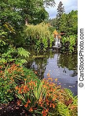 Autumn park Butchart Gardens on Vancouver Island, Canada. ...