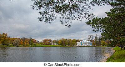 Autumn park in the city of Pushkin.