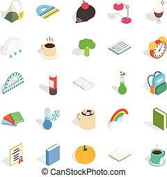 Autumn party icons set, isometric style