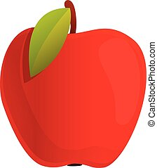 Autumn party red apple icon, cartoon style