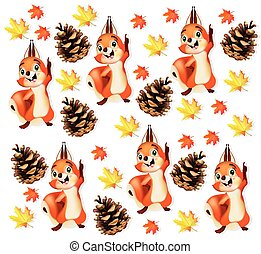 Autumn pattern background with funny squirrel character Vector illustrations