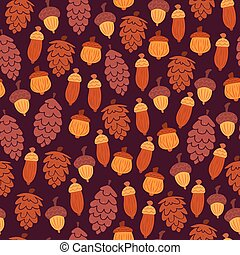 Autumn pattern with cones and acorns