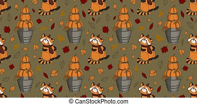Autumn pattern with pumpkins. Digital paper for scrapbooking. Thanksgiving Day. Autumn animals. Green background