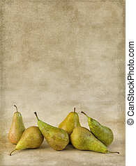 Autumn pears on grunge wallpaper