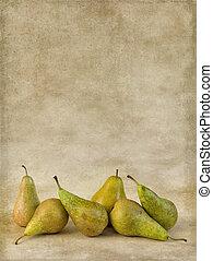 Autumn pears on grunge wallpaper