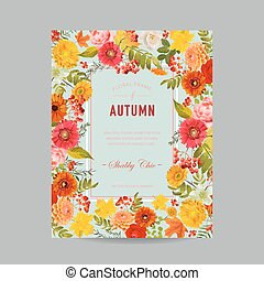 Autumn Photo Frame with Maple Leaves and Flowers. Seasonal Fall Design Card. Vector illustration