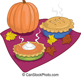 Colorful illustration of autumn pumpkin, and apple pies with leaves