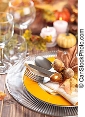 Autumn place setting .