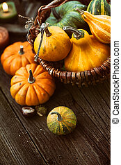 Autumn place setting - Autumn table setting with pumpkins....