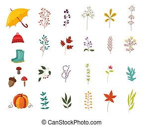Autumn plants and clothes accessories set with various foliage and wear decorative elements.