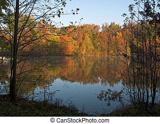 Autumn Pond - An Autumn view of a pond from the shoreline ...