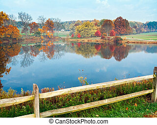 Autumn Pond View - An Autumn view of the pond in Holmdel...