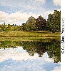 autumn pool reflection