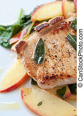 Autumn Pork Chop - Golden pork chop with warm apple and...