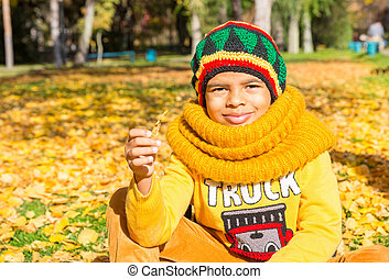 Autumn portrait of African American beautiful child. Happy little black boy with leaves in the park in fall.