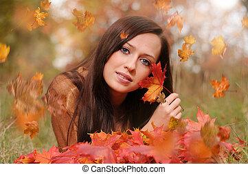 Autumn portrait of beautiful caucaisan girl