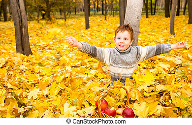 Autumn portrait of beautiful child. Happy little boy with leaves in the park in fall.