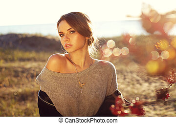 autumn portrait of beautiful woman