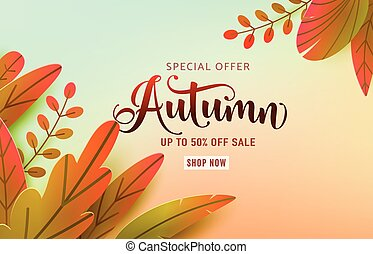 Autumn poster vector background. Fall floral design, text offer sale sign. Red, orange, green abstract leaves in simple flat paper cut style. Autumnal nature discount wallpaper