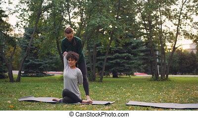 autumn., praktyka, kierownictwo, yoga, jej, natura, concept...