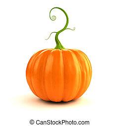 autumn - pumpkin - 3d rendered illustration of a big, orange...