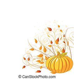 Autumn Pumpkin and leaves - illustrated background.