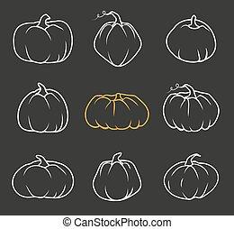 Autumn pumpkin doodle icon Halloween vector set