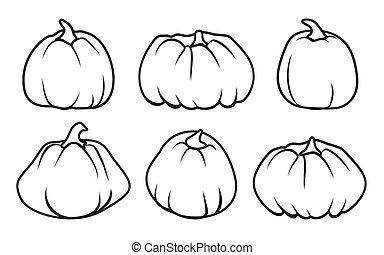 Autumn pumpkin doodle icon Thanksgiving vector set