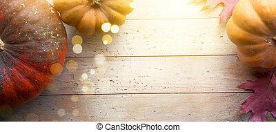 autumn pumpkin harvest season background; thanksgiving holiday banner