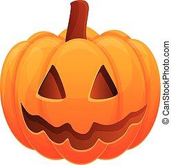 Autumn pumpkin icon, cartoon style