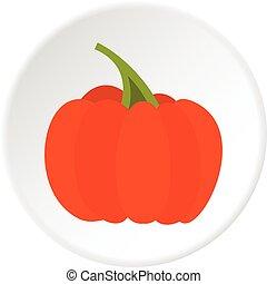 Autumn pumpkin icon circle